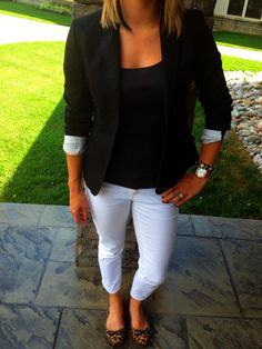 blazer//white pants//leopard print flats -- perfect business casual for pre-fall. // pants - target // black tank - marshalls // blazer - h // hair feather - urban outfitters