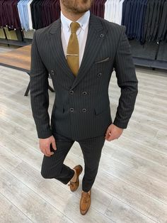 Buy High-End Suits Double Breasted Pinstripes Suit Men Black 3 Pieces Slim Fit Jacket Prom Tuxedo Wool Groom Suit Set and other Suits at Men'sUSA. Grey Slim Fit Suit, Black Suits, Plaid Suit, Wool Suit, Double Breasted Pinstripe Suit, Black Pinstripe Suit, Checked Suit, Susa, Fitted Suit