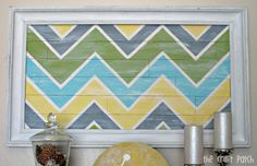"""Framed Chevron """"Pallet"""" Wall Art. But it's not actually made from wood!"""