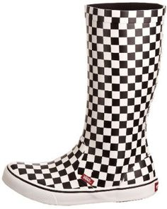 6e26add131 Vans Rainfall Checkers Casual Rainboot - Black White: Shoes...i need these  for the track!