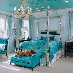 Bedroom Turquoise White: