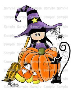 Witch pumpkin cat Nina dolls 0047 clip art set images por Withart