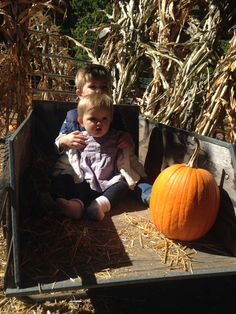 Maddox and Mila , at the pumpkin patch !