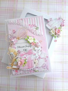 Baby Cards, Kids Cards, Lemon Crafts, Mixed Media Cards, Shabby Chic Cards, Paper Flower Tutorial, Baby Scrapbook, Cute Cards, Vintage Cards