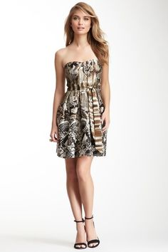 Strapless Print Satin Dress by GUESS on @HauteLook