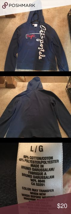 Aeropostale NYC Hoodie -Men's Blue hoodie that is very comfortable.  Had White and Red writing.  Slightly worn but really in good condition.  Size large. Original Aeropostale.  Established in 1987. Aeropostale Shirts Sweatshirts & Hoodies