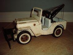 Vintage Pedal Car :: 1960's Pressed Steel Tonka Jeep AA Wrecker Plow Tow Truck