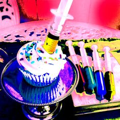"""Cupcakes with """"Shots"""" filled with flavored liquor :) Nursing school graduation party idea? Halloween Cupcakes, Halloween Treats, Halloween Stuff, Nurse Grad Parties, Nurse Party, Nurse Cupcakes, Cupcake Cakes, Themed Cupcakes, Zombie Walk"""