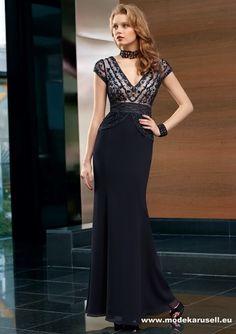 V Ausschnitt Kleid Kleider Abendkleid Schwarz www.modekarusell.eu