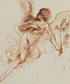 Guercino (Giovanni Francesco Barbieri, 1591–1666) The Angel of the Annunciation 1646 Pen