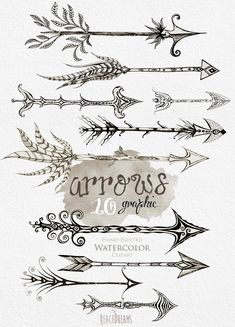 Arrows clipart. Hand Drawn Clip Art Tribal Arrows Instant