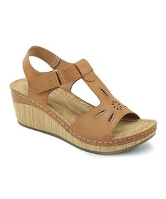 Look at this Brown Cutout T-Strap Sandal Low Wedge Sandals, T Strap Sandals, Sock Shoes, Shoe Boots, Supportive Sandals, Floral Sandals, Leather Slippers, Comfortable Sandals, Me Too Shoes