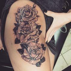 #mine #rose #hip #thigh #tattoo