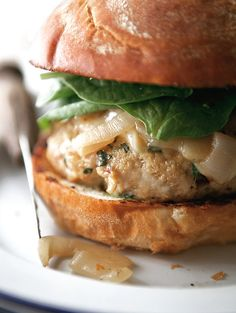 Turkey burgers take on an elevated form when seasoned with savory-sweet sundried tomatoes, romano cheese, basil, and garlic. (And that's just in the patty!) Rounded out with smoked provolone cheese, basil mayonnaise, and caramelized onions and this fully-loaded burger is hard to beat.  Source: A Better Happier St. Sebastian