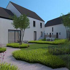 Courtyard Landscaping, Modern Landscaping, Modern Landscape Design, Landscape Architecture, Garden Planter Boxes, Lush Lawn, Big Garden, Garden Images, Outside Living