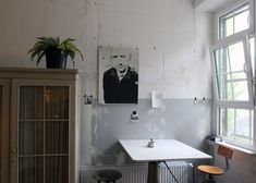 Berlin kitchen, via Yatzer    if this table folds up & down, then I like it twice