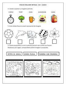 Fise de lucru - Scolari I - IV: FISA de EVALUARE INITIALA - CLASA I - CLR (Comunicare in limba romana) Preschool Learning, Educational Activities, Preschool Activities, Kids Education, Special Education, Alphabet Writing, Kids Math Worksheets, Kids Poems, Teacher Assistant