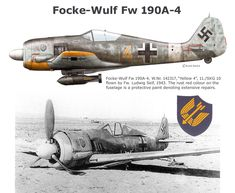 Focke-Wulf (FW-190/A4): This aircraft was equipped with the BMW-801/D2 engine, which increased power to 1,250 kW at take-off by improving the supercharger and raising the compression ratio. Due to this, it required a higher octane fuel. Some A4s were fitted with a special Rüstsatz field conversion kit, having a pair of under-wing Werfer-Granate 21 (BR 21) rocket mortars. These aircraft were then designated FW-190/A4/R6. A total of 976 A4's were built between June 1942 and March 1943.