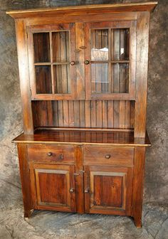 Rustic Reclaimed Wood Stepback Hutch with Glass Doors 51 inch Wide - Country Marketplace Woodworking Shop Layout, Cool Woodworking Projects, Woodworking Plans, Woodworking Magazine, Woodworking Classes, Workbench Plans, Woodworking Videos, Reclaimed Wood Furniture, Solid Wood Furniture