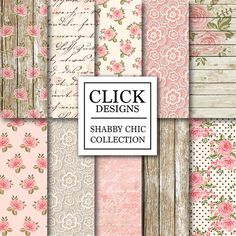 """Shabby Chic Digital Paper: """"WOOD & LACE ROMANTIC"""" Floral romantic scrapbooking papers with roses, in pink, beige for wedding invites, carts by ClickDesigns on Etsy https://www.etsy.com/listing/225176189/shabby-chic-digital-paper-wood-lace"""