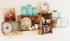 soda crates and wire baskets for shelves by Sort Of Fairytail