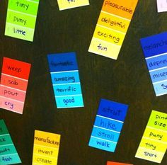 paintstrip_vocab: student generated synonyms for vocabulary words. Could put them on anchor charts...