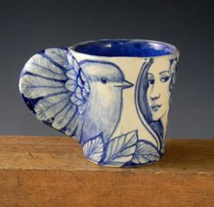 Blue and white OOAK hand made stoneware coffee tea by PSPorcelain, $48.00