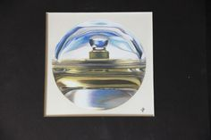 I painted a bottle of 360 perfume with acrylic paint. Loved the color reflections in the bottle.