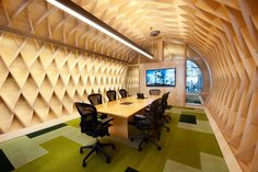 The sustainable interior design of an office conference room.