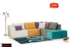 Γωνιακός καναπές Carrera σε 5 κομμάτια με πολύχρωμα καλοκαιρινά υφάσματα. http://www.sofa.gr/goniakos-kanapes-carrera