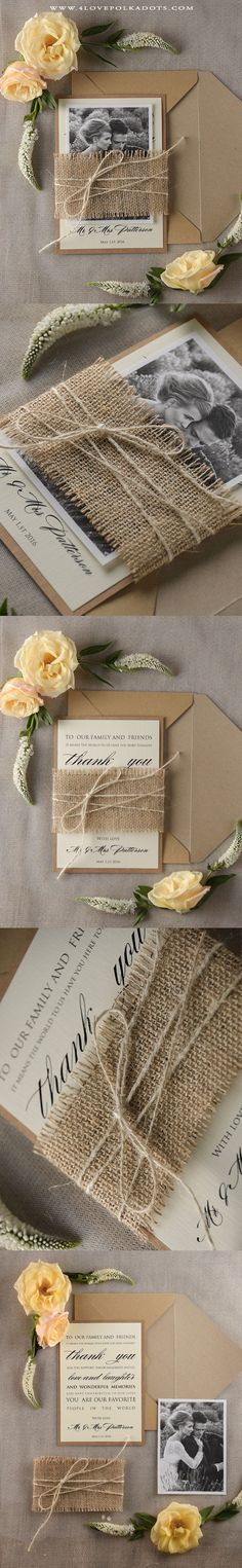 Rustic Wedding Thank You Card - Burlap & Twine #romanticwedding #countryweddingideas