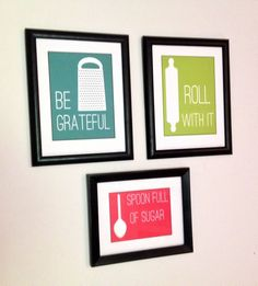Create cheery wall art with printouts & $1 frames.