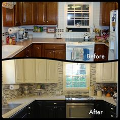 """Sprayed cabinets using Valspar Valtec Pre-Catalyzed Vinyl Sealer; custom colors (espresso & cream).  Countertops by Eco by Cosentino; color Luna.  18X18"""" Ceramic floors by TileShop; color gray.  Backsplash by Lowe's; American Olean 12x12"""" Eclipse Mosaic Basketweave Wall Tile.  Appliances by Frigidaire; stainless steel.  Sink from Home Depot; Elkay Innermost Perfect Drain Dual Mount Stainless Steel 33x22x8 2-Hole Double Bowl Kitchen Sink.  Wall paint by Behr; color: London Fog (eggshell…"""