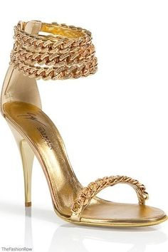 Balmain Gold Chain Anklet Sandals | More bling here: http://mylusciouslife.com/photo-galleries/bling-fling/