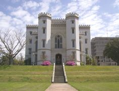 """Gothic Revival Castle is located in Baton Rouge Louisiana. It was built in 1849, restored in 1882, placed on the National Register of Historic Landmarks in 1976, and again restored in 1995. Mark Twain once remarked that this was the """"ugliest"""" building on the Mississippi river."""