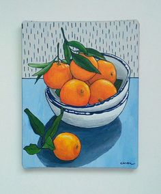 Orange Painting, Still Life Painting, Fruit Still Life, Small Painting, Original Painting, 8x10 Canvas, Mini Painting, Abstract Still Life