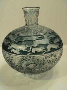 """R. LALIQUE """"LIEVRES"""" (RABBITS) ART GLASS VASE, BLUE PATINA, c. 1920's"""