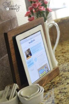 A #DIY tablet display that doubles as a chalkboard. #ipad (Photo by: Shanty 2 Chic)