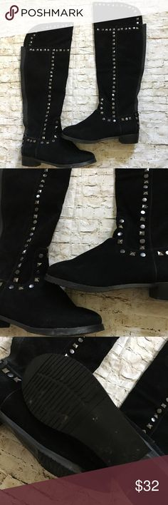 """Midnight Velvet Size 11W Wide Calf OTK Boots EUC Super cute boots for the fall and winter from Midnight Velvet in size 11W. Boots were only worn once - my daughter did not like the over-the-knee style. They are wide calf and have elastic in the back of the calf - unstretched the calf is about 18"""" around. They are pull-on style and faux suede with studded detail. They do have a zipper towards the bottom to assist when putting on. Thank you for looking! ☺️ 🚫trades 🚫lowball offers. Midnight…"""
