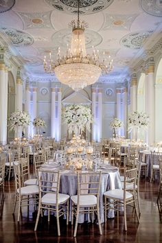 The Biltmore Ballrooms Reception  Photography: Milanés Photography Read More: http://www.insideweddings.com/weddings/white-silver-gold-wedding-at-the-biltmore-ballrooms-in-atlanta/680/