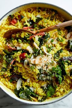 Turmeric coconut rice with greens