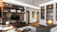 Entertainment Wall Interior Among Modern Design Furniture Used Wooden TV Cabinet Ideas Used Brown Also White Color Style as Inspiration