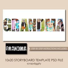 Grandma Collage Photoshop Template 10x20
