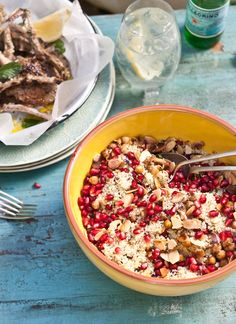 COUS COUS, SPICED CHICKPEA, MINT AND POMEGRANATE SALAD