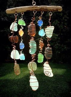 DIY Wind Chime---love this! so easy to find driftwood and beach glass on Lake Erie!