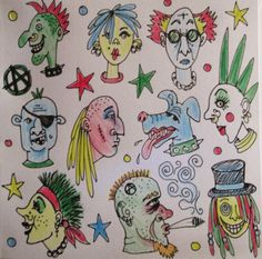 Punks and Crusties hand drawn illustration blank art card