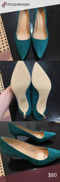 NWOT J. Crew shoes. Green suede. Kitten heels. Never worn. Heel height is 2 1/4 inches. j crew Shoes