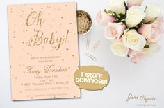 INSTANT DOWNLOAD - Peach Coral Gold Glitter Baby Shower Invitation - Gold Confetti Invite - Oh Baby Baby Shower - 0130