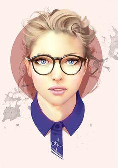 Artist: Karl Liversidge {contemporary figurative illustrator beautiful female head eyeglasses woman face digital painting}