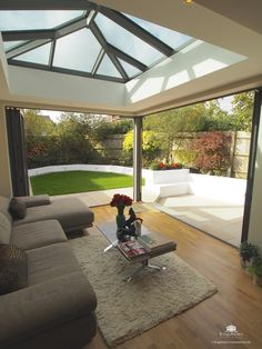 Contemporary aluminium orangery in Radlett House Design, Garden Room, Garden Room Extensions, Bungalow Extensions, Home, Skylight Design, New Homes, Orangery, House Exterior
